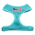 Bone Flag USA Screen Print Soft Mesh Harness Aqua Small